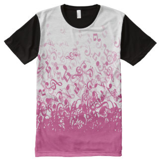 Raining Music Notes Fuchsia Pink All-Over-Print T-Shirt
