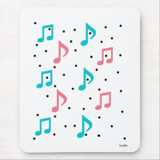 Raining Music Notes Mouse Pad