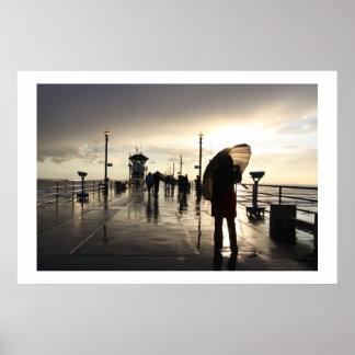 Raining on the Pier Surf City Poster