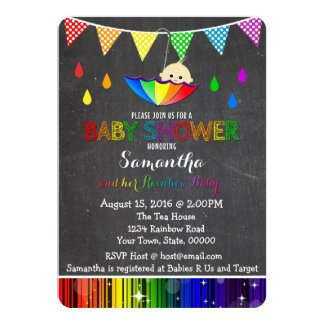 Raining Rainbow Baby Shower Invitation
