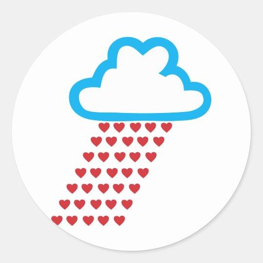 Raining Red Hearts Classic Round Sticker
