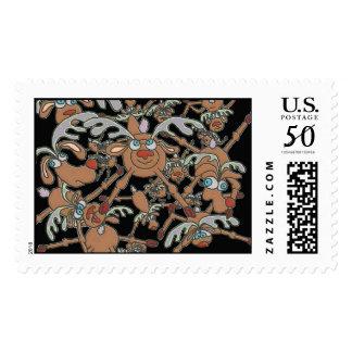raining reindeer postage