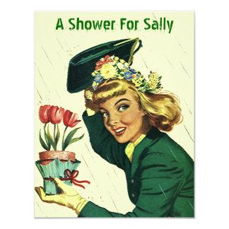"Raining Retro Shower Party Announcement Invitation 4.25"" X 5.5"" Invitation Card"