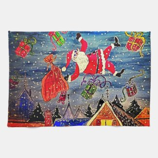Raining Santa Christmas Kitchen Towel