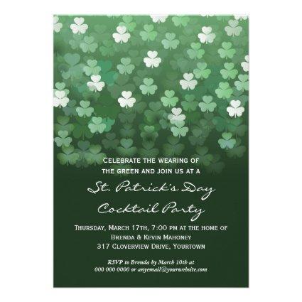 Raining Shamrocks St Patricks Day Party Invitation
