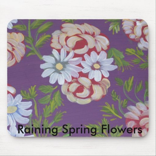 Raining Spring Flowers Mouse Pads