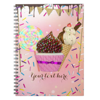 Raining Sprinkles Candy Land Sweets Spiral Notebook