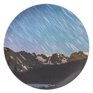 Raining Stars Over Longs Lake and The Indian Peaks Melamine Plate