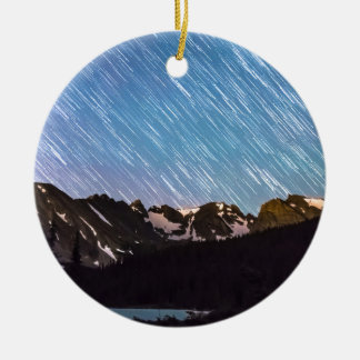 Raining Stars Over Longs Lake and The Indian Peaks Double-Sided Ceramic Round Christmas Ornament