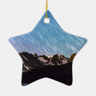 Raining Stars Over Longs Lake and The Indian Peaks Double-Sided Star Ceramic Christmas Ornament