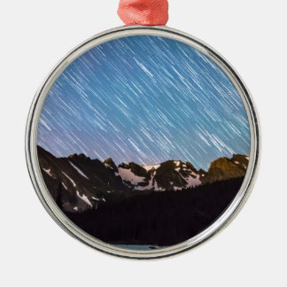 Raining Stars Over Longs Lake and The Indian Peaks Round Metal Christmas Ornament