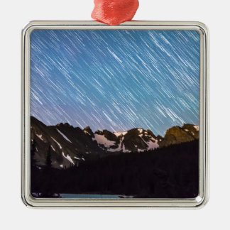 Raining Stars Over Longs Lake and The Indian Peaks Square Metal Christmas Ornament