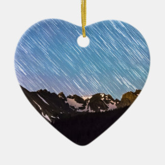 Raining Stars Over Longs Lake and The Indian Peaks Double-Sided Heart Ceramic Christmas Ornament