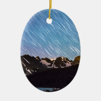 Raining Stars Over Longs Lake and The Indian Peaks Double-Sided Oval Ceramic Christmas Ornament