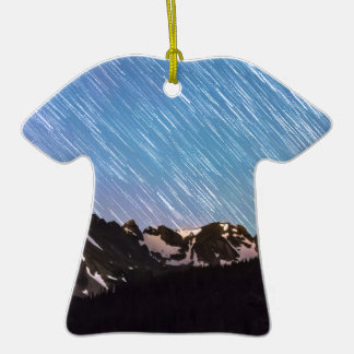 Raining Stars Over Longs Lake and The Indian Peaks Double-Sided T-Shirt Ceramic Christmas Ornament