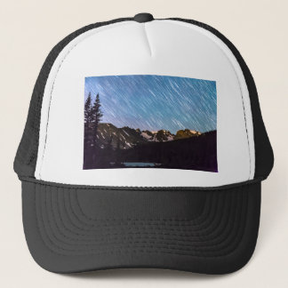 Raining Stars Over Longs Lake and The Indian Peaks Trucker Hat