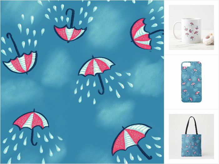 Zazzle collection with a fun pattern of raining umbrellas
