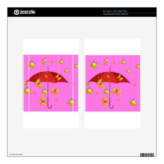 Raining Yellow Roses & Butterflies Gifts Decals For Kindle Fire