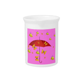Raining Yellow Roses & Butterflies Gifts Drink Pitcher