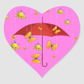 Raining Yellow Roses & Butterflies Gifts Heart Sticker