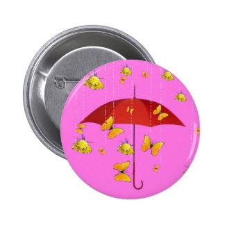 Raining Yellow Roses & Butterflies Gifts Pinback Button