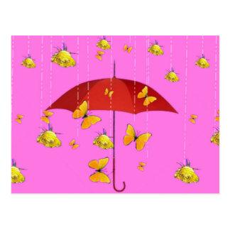 Raining Yellow Roses & Butterflies Gifts Postcard