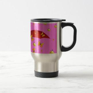 Raining Yellow Roses & Butterflies Gifts Travel Mug