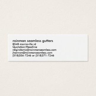 rainman seamless gutters, 8548 marriaville rd, ... mini business card