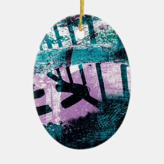 Rainwater puddle on a small Dustbin lid Ceramic Ornament