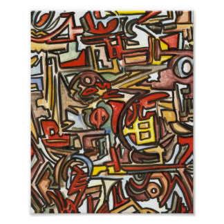 Rainy Day-Abstract Art Hand Painted Poster