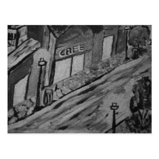 Rainy Day at the Cafe - Art Postcards