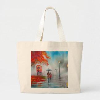 Rainy day autumn red bus umbrella painting bag