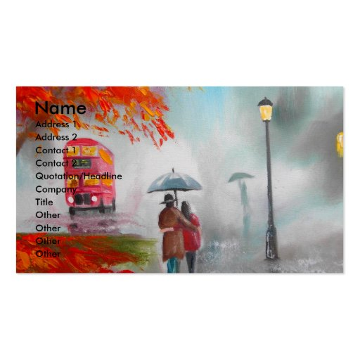 Rainy day autumn red bus umbrella painting Double-Sided standard business cards (Pack of 100)