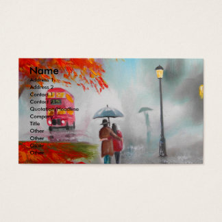 Rainy day autumn red bus umbrella painting business card