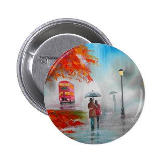 Rainy day autumn red bus umbrella painting pinback button