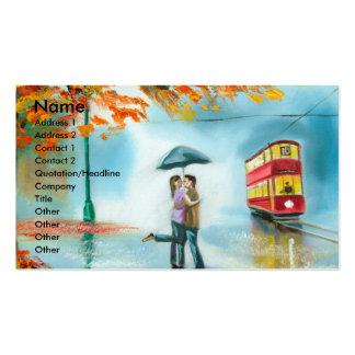 Rainy day autumn red tram umbrella romantic couple business card