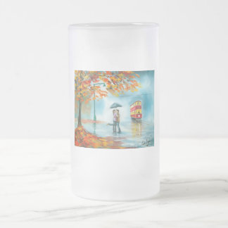 Rainy day autumn red tram umbrella romantic couple frosted glass beer mug