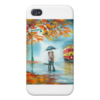 Rainy day autumn red tram umbrella romantic couple iPhone 4/4S case