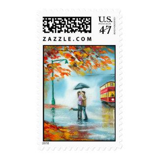 Rainy day autumn red tram umbrella romantic couple postage stamp