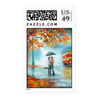Rainy day autumn red tram umbrella romantic couple stamps