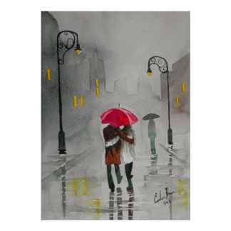 Rainy day autumn red umbrella romantic couple poster