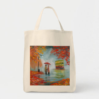 Rainy day autumn red umbrella tram painting tote bags