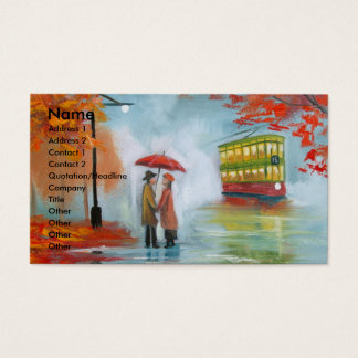 Rainy day autumn red umbrella tram painting business card