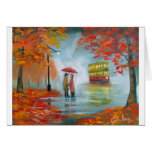 Rainy day autumn red umbrella tram painting greeting card