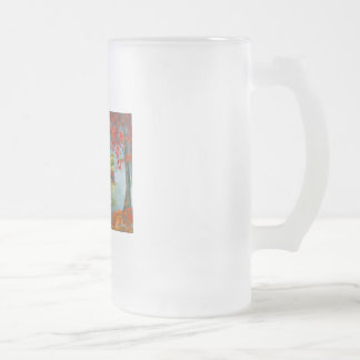Rainy day autumn red umbrella tram painting frosted glass beer mug