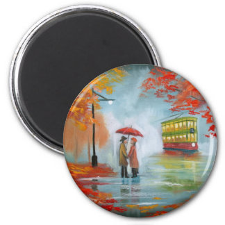 Rainy day autumn red umbrella tram painting magnet