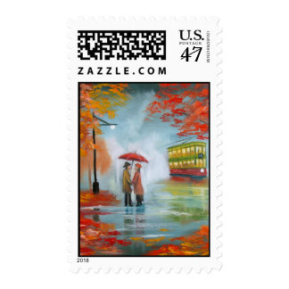 Rainy day autumn red umbrella tram painting postage