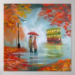 Rainy day autumn red umbrella tram painting poster