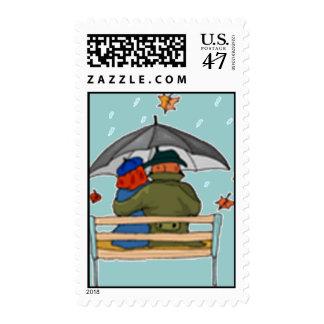 Rainy Day Couple Postage