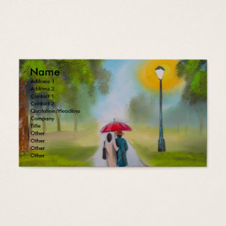 RAINY DAY COUPLE UMBRELLA PAINTING BUSINESS CARD